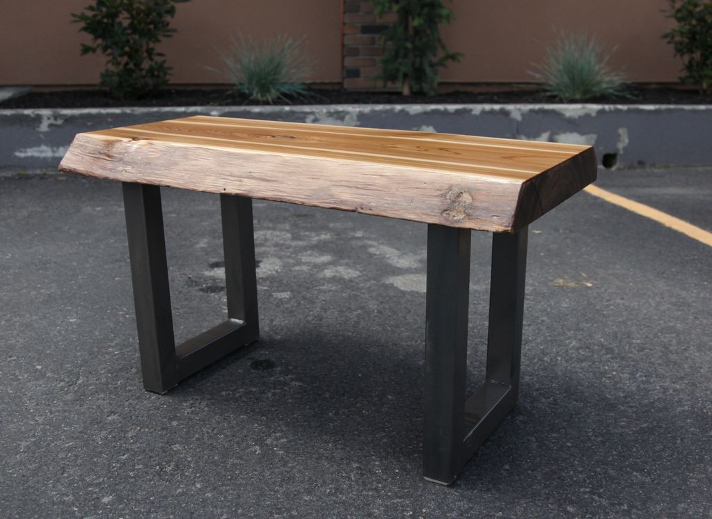 Alex Neidbala Live Edge Bench with silver legs