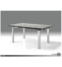 Cantro Clear Tempered Glass Dining Table With Extension