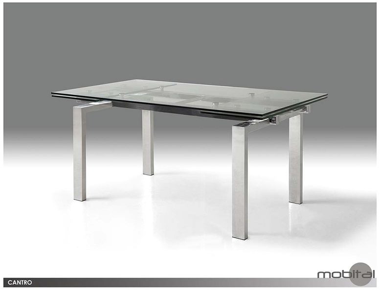 Mobital cantro clear tempered glass dining table with for Tempered glass dining table
