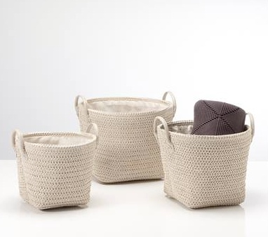 Torre & Tagus Ribeira Round Storage Baskets. Set of Three in Creme