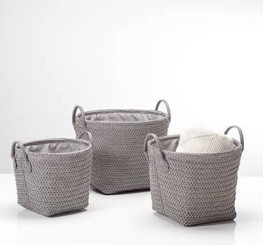 Torre & Tagus Ribeira Round Storage Baskets. Set of Three in Grey