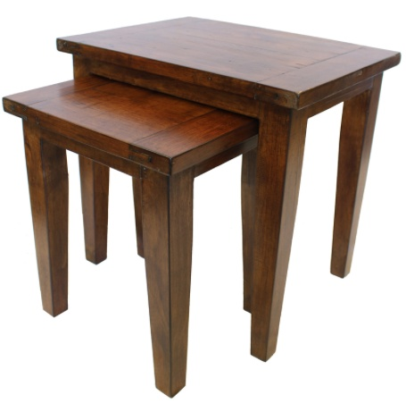 LH Imports Irish Coast Set of Two Nesting Lamp Tables.  Stain in African Dusk.