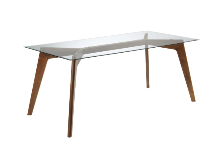 SunPan Blaze Dining Table with Glass Top and Walnut Base