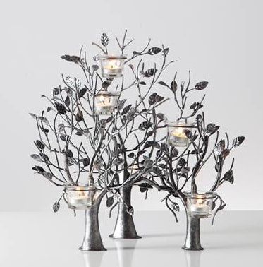 Torre & Tagus MAYBURY 6 VOTIVE TREE CANDLE HOLDER - ANTIQUE PEWTER