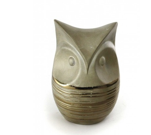 SOVY GOLD CERAMIC OWL - TALL