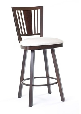Amisco Madison Counter Stool <br /> Fabric:Stratus<br /> Metal: Black Coral<br /> Wood:Hazy