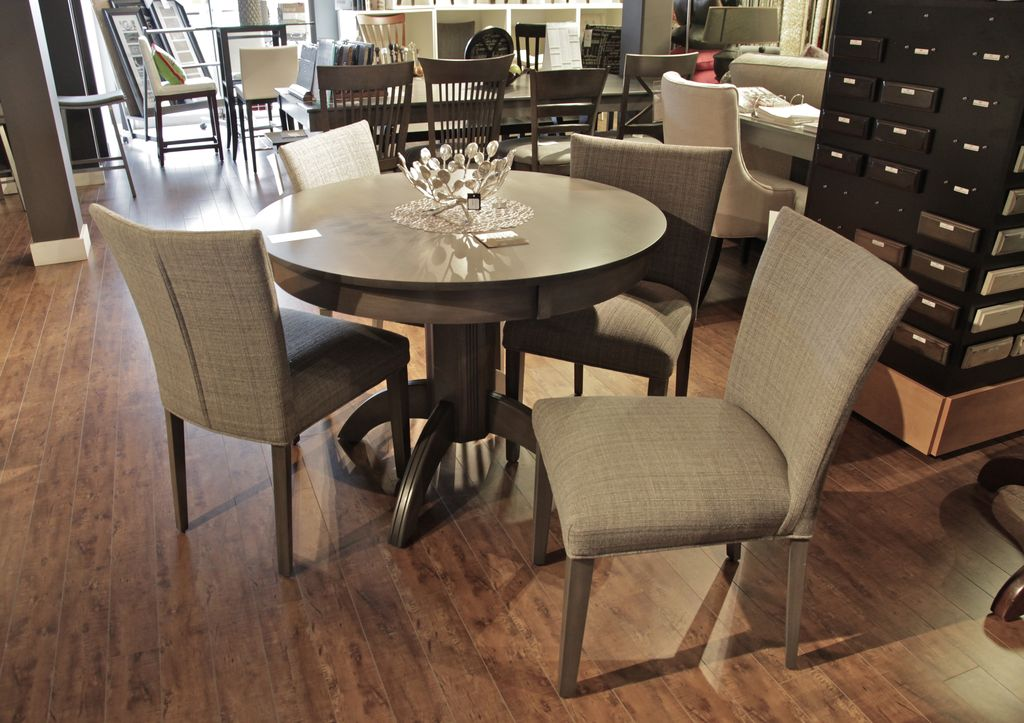 Bermex Bermex 42 x 42 Round Dining Table with D apron.  Base in 23B.  Stain in Chamois Sepia.
