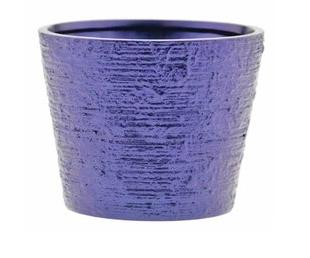 Metallic Blue Ceramic Planter