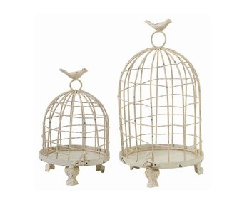 Cream Metal Bird Cages.  Set of 2