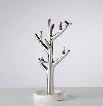 Torre & Tagus Bird on Branch Ceramic Jewelry Tree - Short