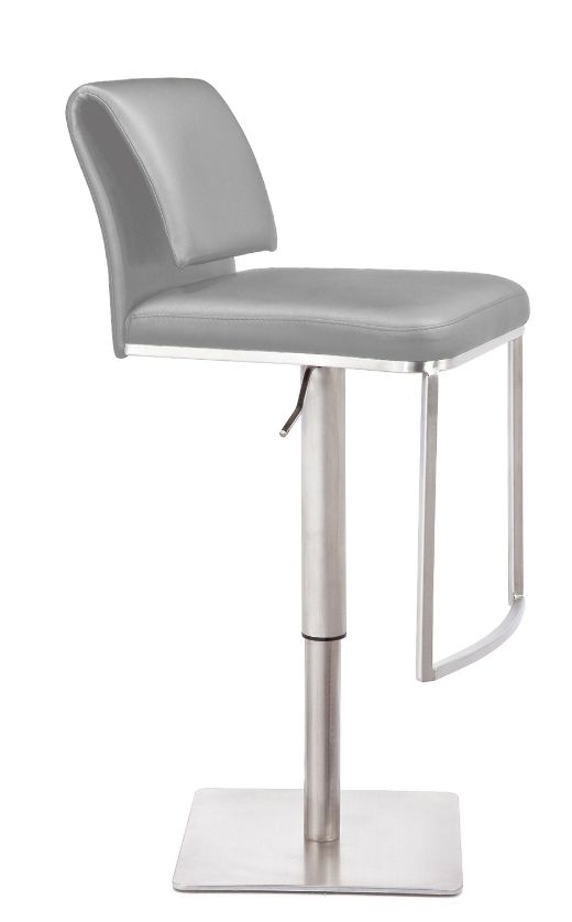 Mobital NEO Hydraulic counter stool in Grey leatherette with brushed stainless steel