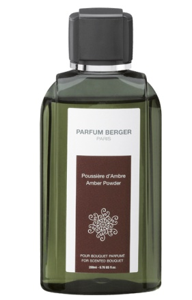 Lampeberger 200ml scented bouquet refill. Amber Powder fragrance. This sensual fragrance begins with the subtlety of a rose, then offers an enjoyment of lily of the valley and vanilla scents, and finishes with a touch of captivating amber and patchouli.