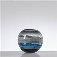 Torre & Tagus Andrea Swirl Glass Sphere Vase - Blue