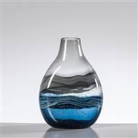 Torre & Tagus Andrea Swirl Glass Short Bulb Vase - Blue