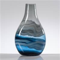 Torre & Tagus Andrea Swirl Glass Tall Bulb Vase - Blue