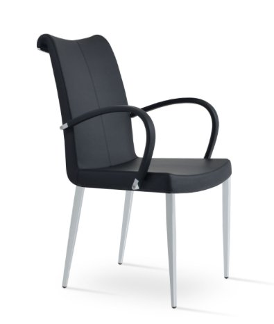 Soho Tulip Arm Chair in Black Leather W/ Chome Plated Base