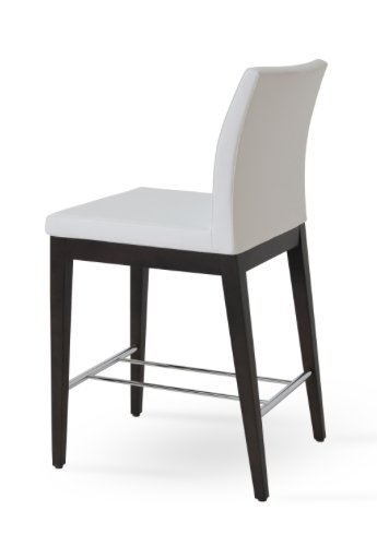 Soho Aria Counter Height Stool in White Leatherette with Wood Base and Chome Stretcher