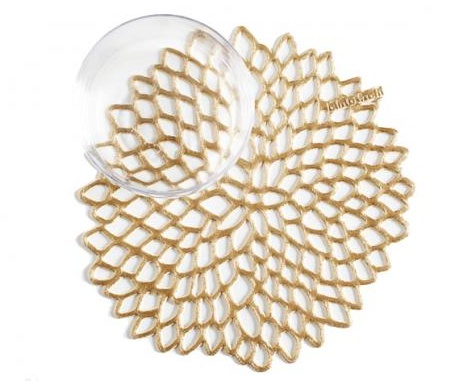 Chilewich Chilewich Dahlia Coaster in Gold - Set of 6