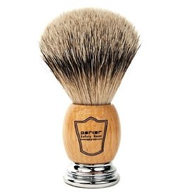 Howi Inc Pure Silvertip Badger Bristle Brush, Olive wood/chrome handle