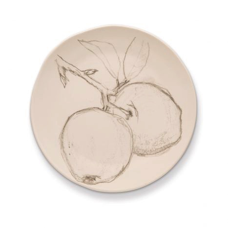 Rosy Rings Ceramic Round Plate - Apple