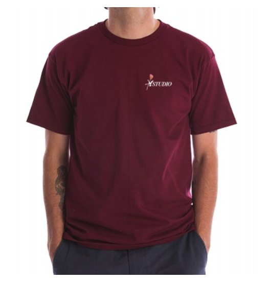 Studio Studio Embroidered Rose Tee - Burgundy