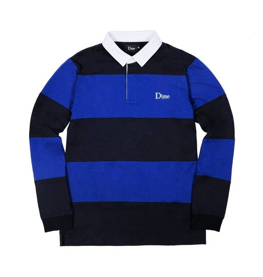 Dime Dime Striped Rugby Shirt - Navy & Royal
