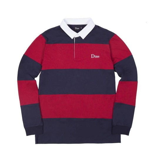 Dime Dime Striped Rugby Shirt - Navy & Red