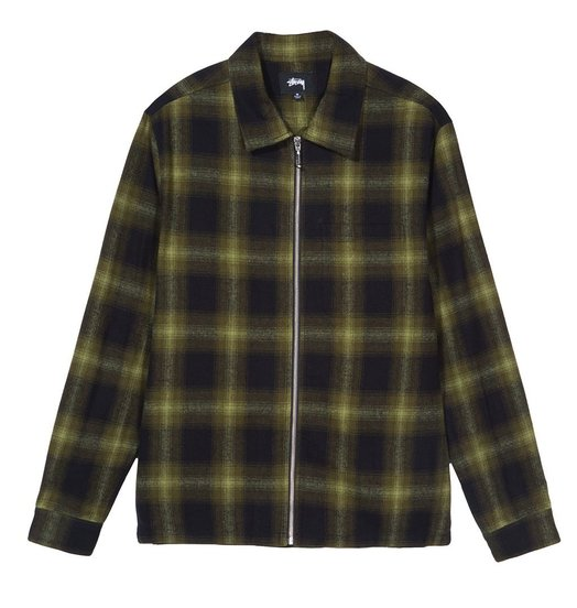 Stussy Stussy Zip Up Shadow Plaid Shirt - Green