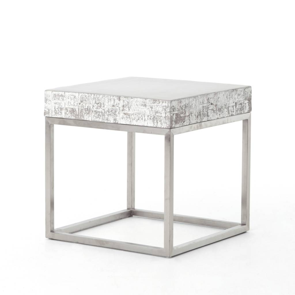 Concrete & Chrome End Table