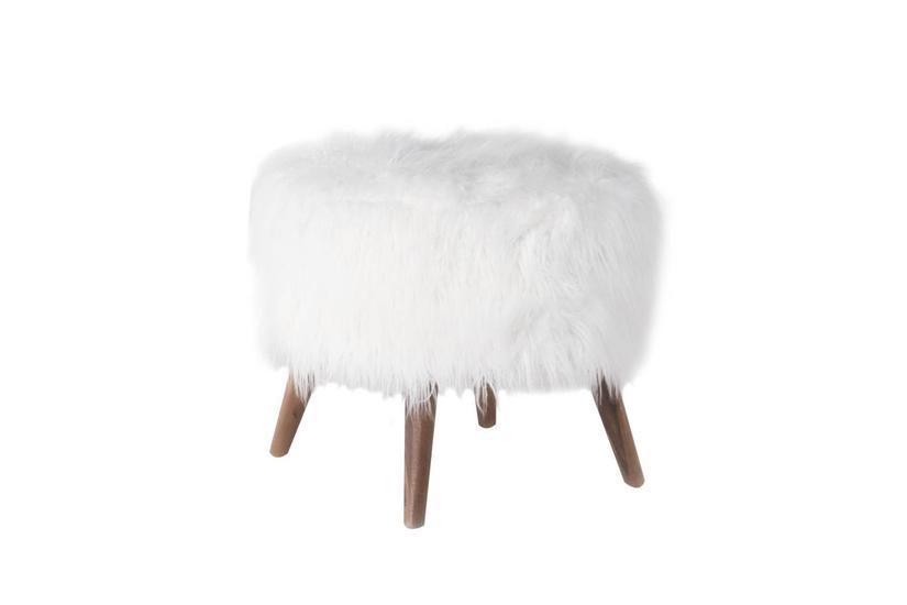 Beebe Ottoman - Snow Fur