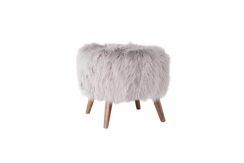 Beebe Ottoman - Silver Fur