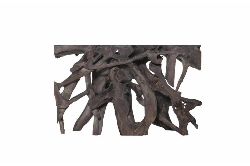 Teak Root Large Console Table - Grey