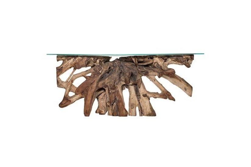 Teak Root Small Console Table - Natural w/ Glass