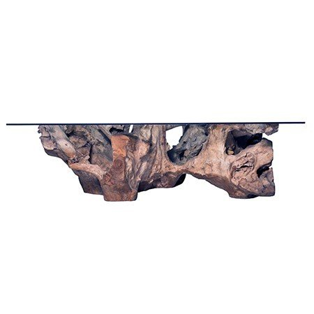 Teak Root Large Coffee Table - Grey with Glass