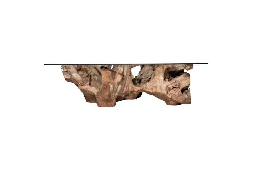 Teak Root Large Coffee Table - Natural w/ Glass
