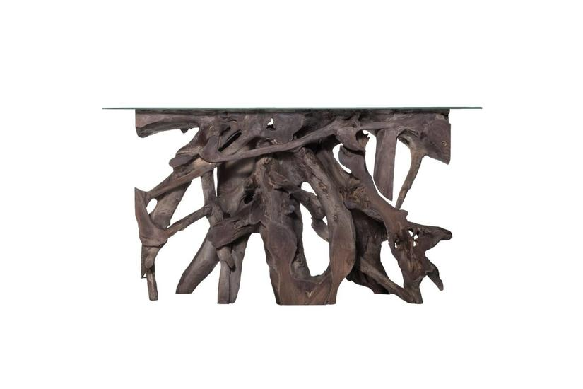 Teak Root Small Console Table - Grey w/ Glass