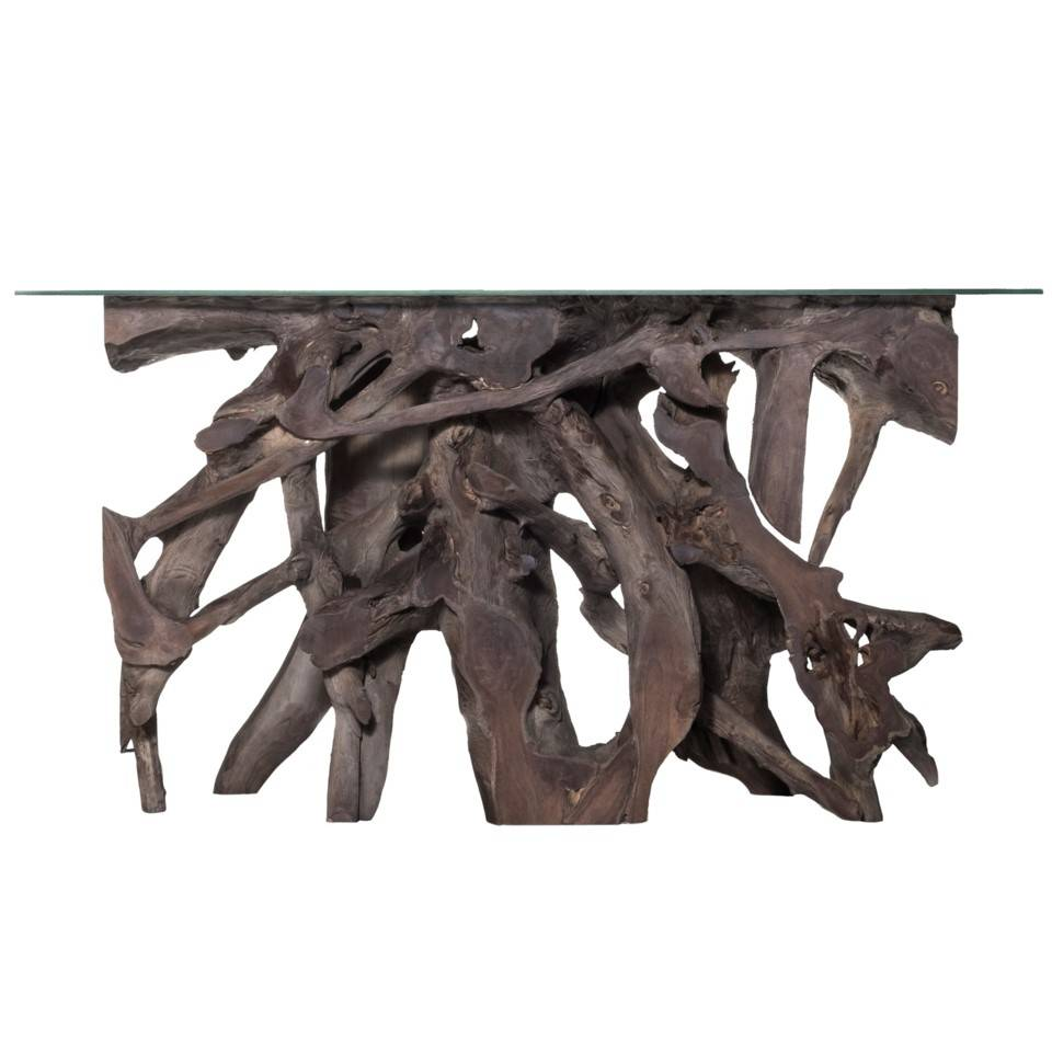 Teak Root Small Console Table - Grey with Glass