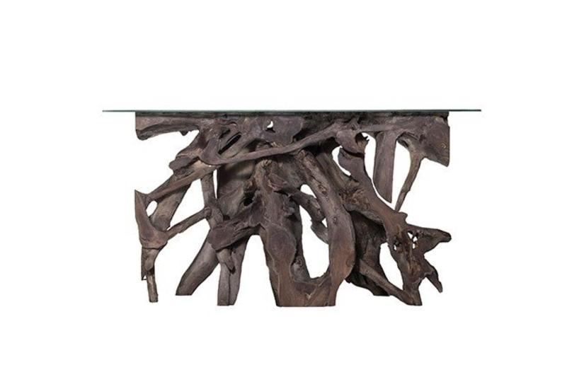 Teak Root Large Console Table - Grey w/ Glass