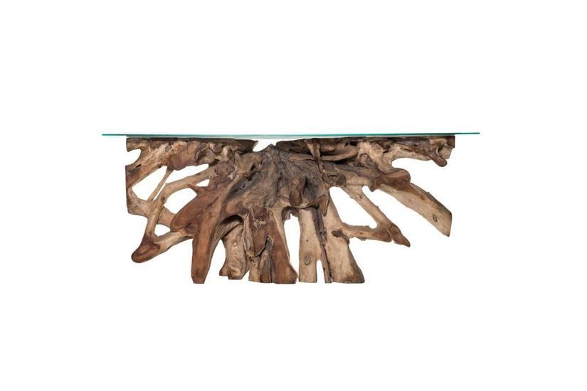 Teak Root Large Console Table - Natural w/ Glass