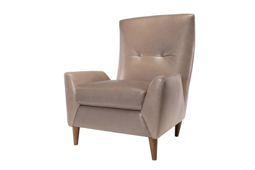 JAMIE LEATHER CHAIR - PEWTER