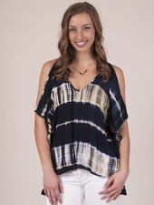 Kamry Tie Dye Cold Shoulder Top