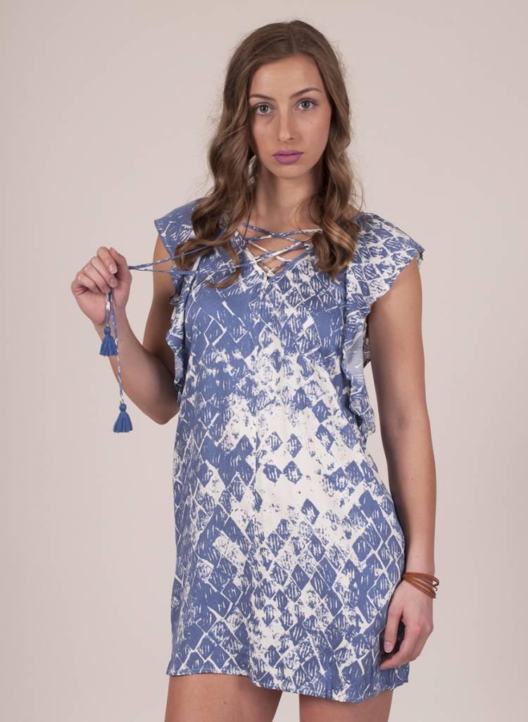 Nala Printed Lace Up Flutter Sleeve Dress