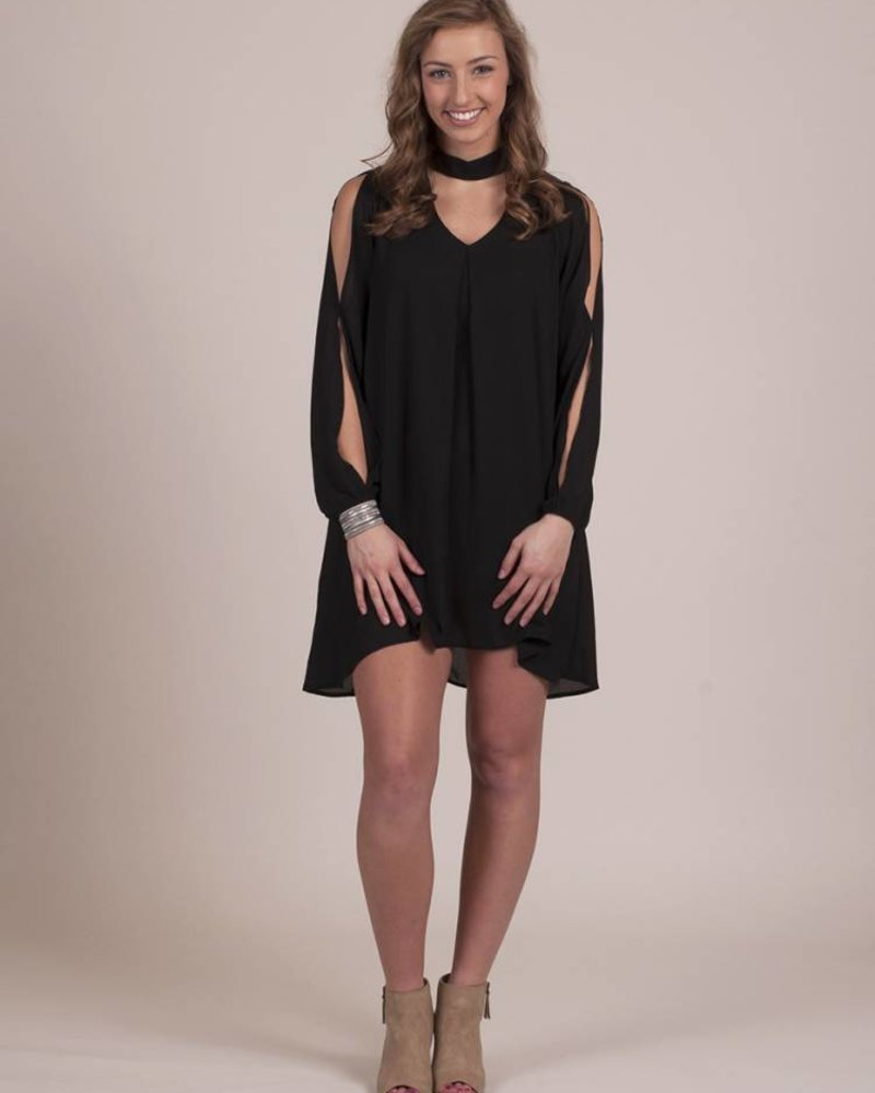 Ami High Neck Dress w/ Cutout Sleeve