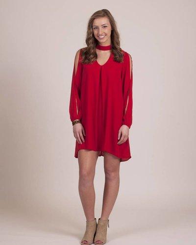 Ami High Neck Dress w/ Cutout Sleeve