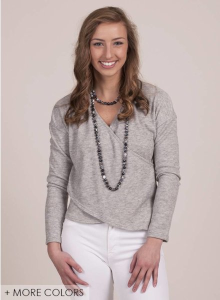 Daffy VNeck Crossover Knit Top