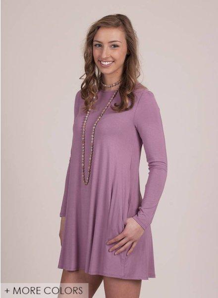Stacie L/S Swing Dress w/ Pockets