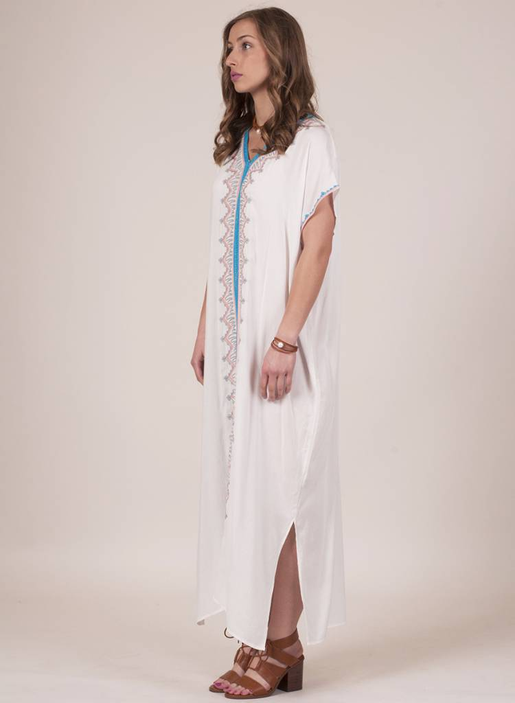 Hibiscus Embroidered Caftan Maxi
