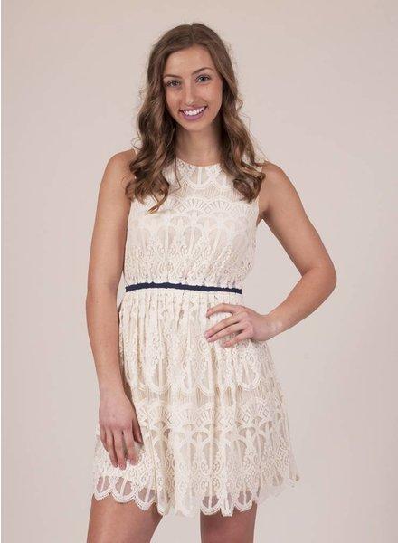 Patty S/L Lace Dress w Navy Cinch