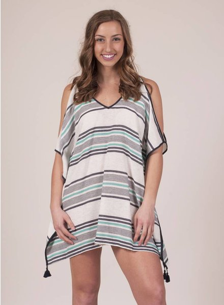Cold Shoulder Striped CoverUp