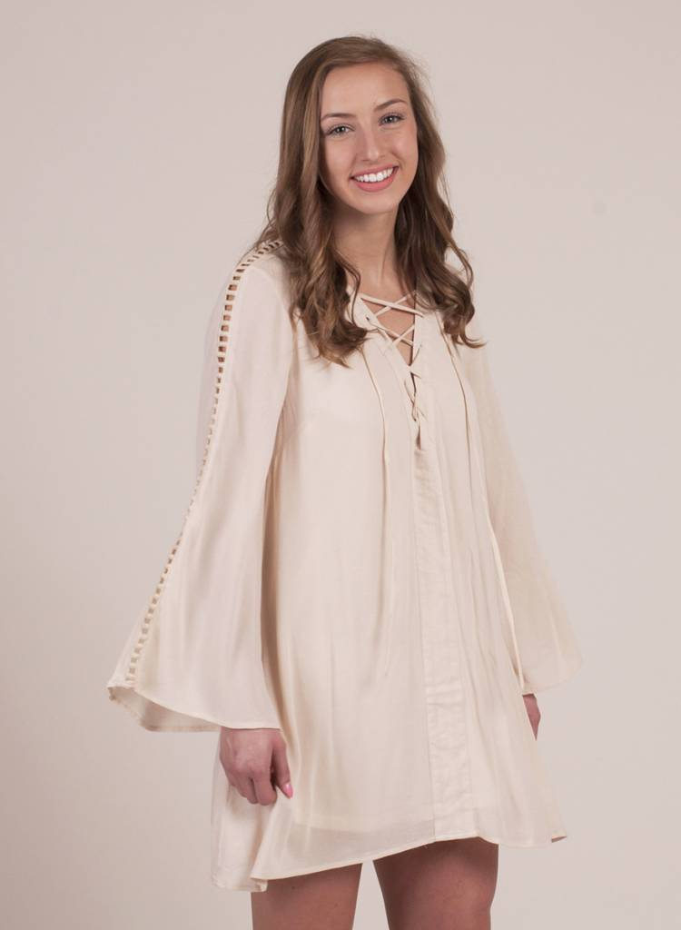 Laurel Lace up Bell Sleeve Dress